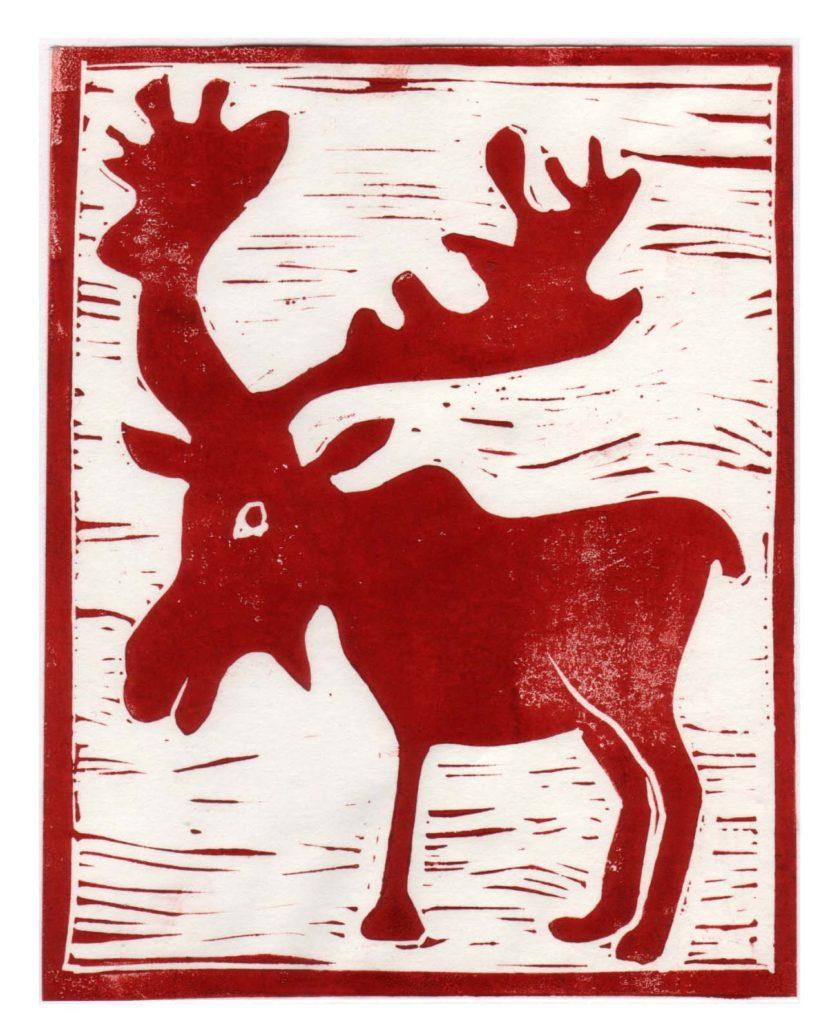 christmas cards red elk